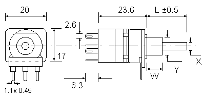 P16 Rotary Switch Dimensions