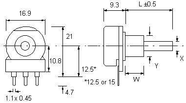 P16 Potentiometer Dimensions