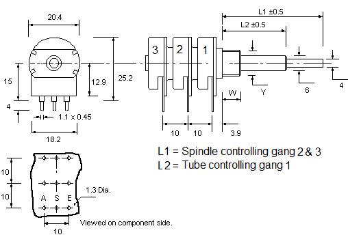 P20 3 concentric Potentiometer dimensions