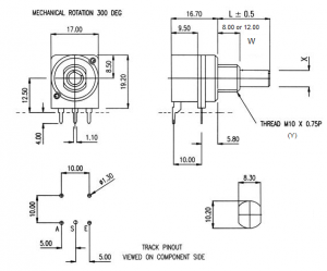Horizontally mounted HR switch dimensions