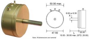 CP20 Servo Potentiometer and dimensions