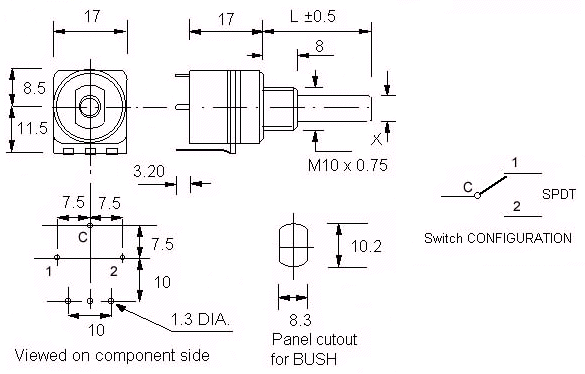 10 Amp Push Activated Switches (10APP) dimensions