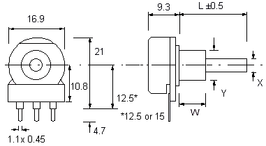 P16 Potentiometer Dimensions