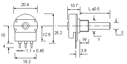 P20 Potentiometer dimensions
