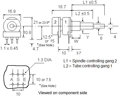 PC2C16BU (Dual Concentric) Dimensions