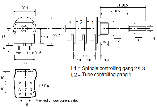 P20 3 concentric Potentiometer dimensions