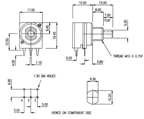 Eco IL Switched Potentiometer dimensions